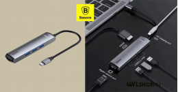 Baseus Mechanical Eye 6in1 HUB (USB-C-PD+HDMi+USB3.0+RJ45 Ethernet port)