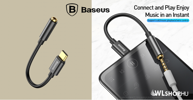 Baseus L54 USB-C  - 3,5 mm-es audio adapter - Fekete