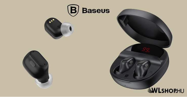 Baseus Bluetooth vezeték nélküli fülhallgató/headset Encok True WM01 Plus - Fekete