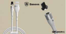 Baseus Lightning adat/ töltőkábel mágneses csatlakozóval 2,4A, 1m Zinc - Fehér