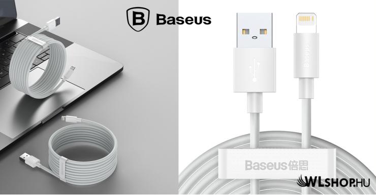 Baseus Simple Wisdom Lightning adat/töltőkábel 2,4A 1,5m (2db/cs.) - Fehér