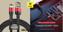 Baseus iPhone Lightning 8 tűs gyors adat/töltőkábel 2,4A - 1m  - Piros/Fekete