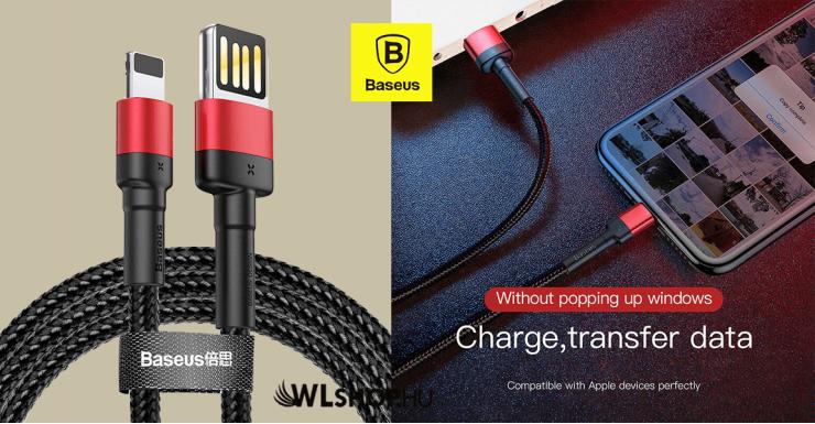 Baseus iPhone Lightning gyors adat/töltőkábel 2,4A - 1m  - Piros/Fekete