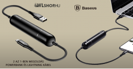 Baseus Energy 2 az 1-ben 2500 mAh Power Bank + iPhone Lightning adat, töltőkábel - Fekete