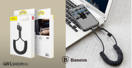 Baseus Fish eye iPhone lightning rugós adat/töltőkábel 23cm-1m-ig - Fekete