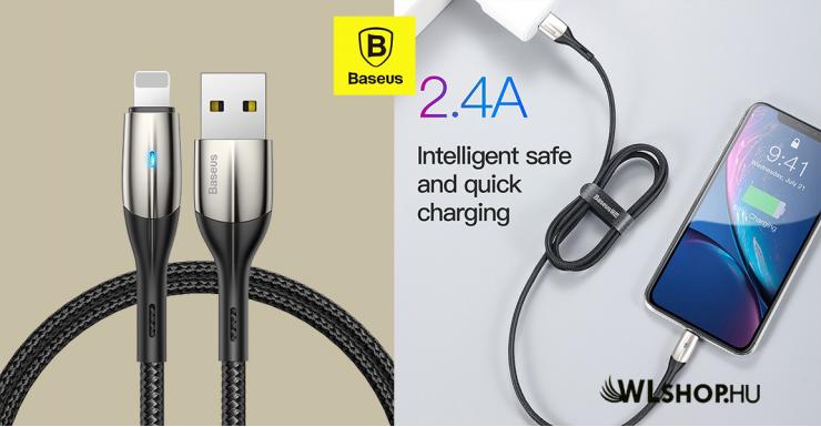 Baseus iPhone adat/töltőkábel Horizontal 2,4A 1m - Fekete
