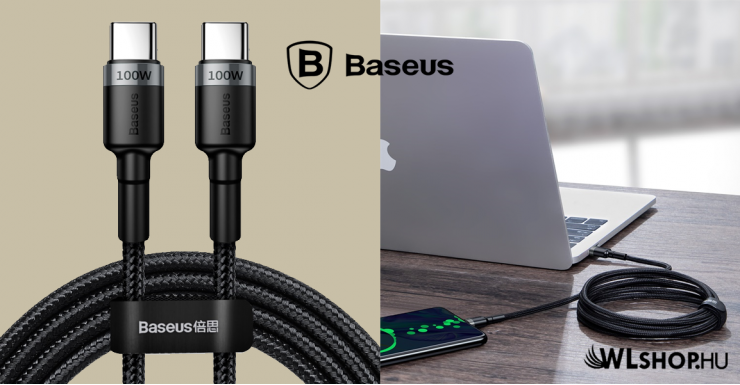 Baseus Cafule PD2.0 100W USB-C/C adat/töltő kábel (20V 5A) 2m - Fekete/Szürke