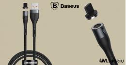Baseus Lightning adat/ töltőkábel mágneses csatlakozóval 2,4A, 1m Zinc - Fekete/Szürke