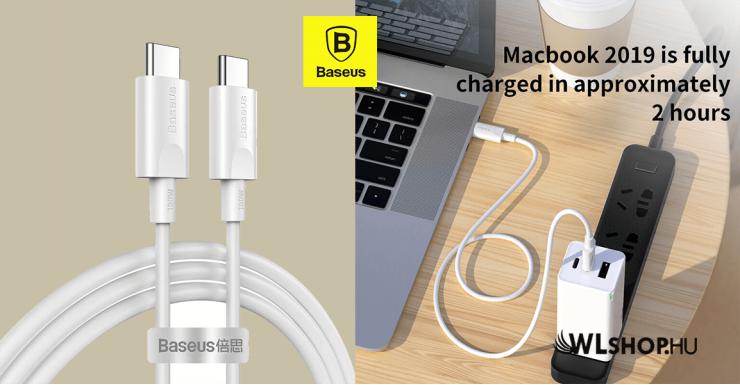 Baseus Xiaobai USB-C/USB-C gyors töltő kábel 100W(20V/5A) 1.5m - Fehér