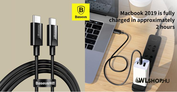 Baseus Xiaobai USB-C gyors töltő kábel 100W(20V/5A) 1.5m - Fekete
