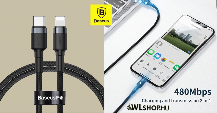Baseus Cafule Type-C/iPhone PD 18W adat/töltőkábel 1m  - Szürke/Fekete