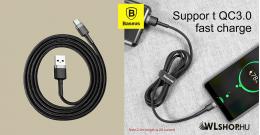 Baseus USB-C gyors adat, töltőkábel 2A - 2m  - Szürke/Fekete