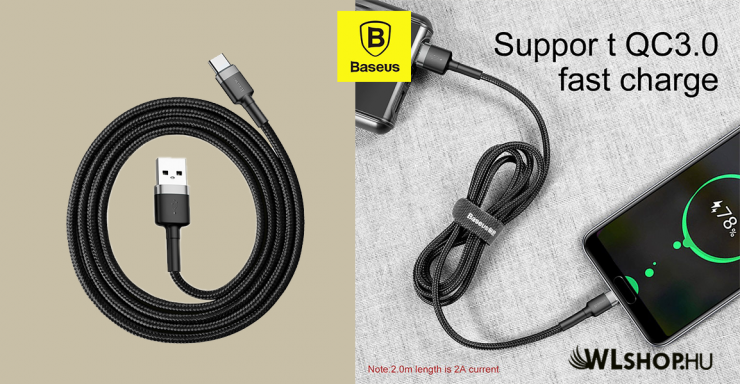 Baseus USB-C gyors adat, töltőkábel 3A - 1m  - Szürke/Fekete