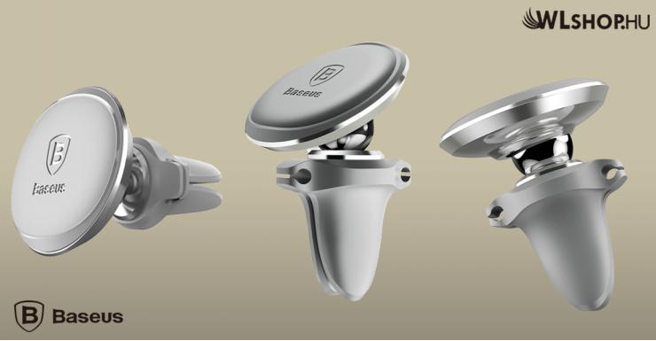Baseus mágneses autós telefontartó szellőzőrácsra Air Vent - Ezüst