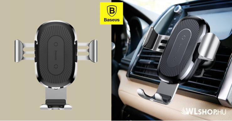 Baseus Gravity autós töltő és tartó 2in1 gyorstöltéssel - Ezüst