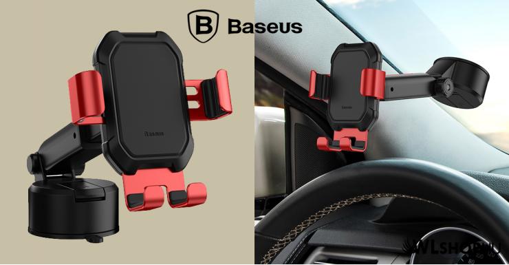 Baseus Tank gavitációs telefontartó műszerfalra-szélvédőre - Fekete - Piros