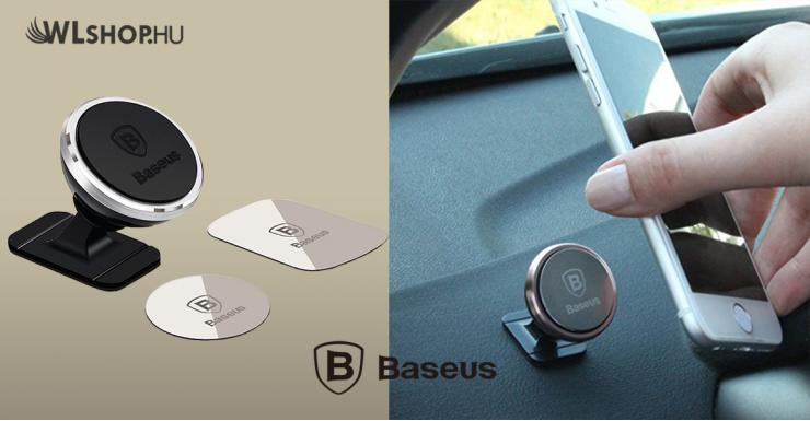 Baseus mágneses autós telefontartó műszerfalra - Ezüst
