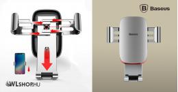 Baseus Metal Age autós telefontartó szellőzőrácsra - Ezüst