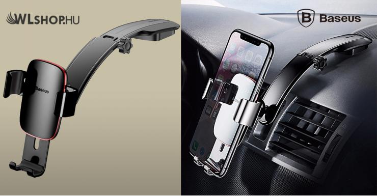 Baseus Metal Age autós telefontartó műszerfalra - Fekete
