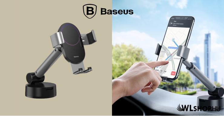 Baseus Simplism gavitációs telefontartó műszerfalra-szélvédőre - Ezüst