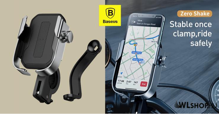 Baseus biciklis telefontartó kormányra és tükörre - Ezüst