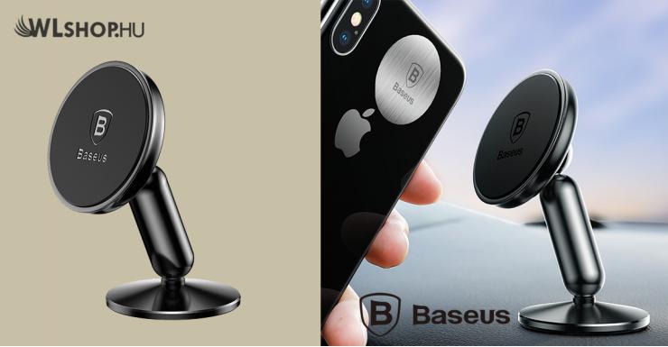 Baseus Bullet mágneses autós telefontartó műszerfalra - Fekete