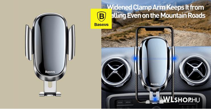 Baseus gravitációs autós telefontartó kerek szellőzőrácshoz Future - Ezüst