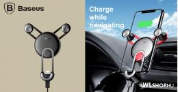 Baseus gravitációs autós telefontartó szellőzőre Lightning kábellel YY - Fekete