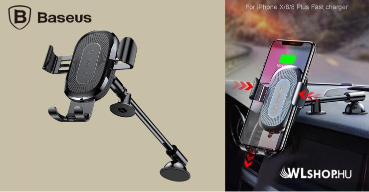 Baseus vezeték nélküli autós töltő és tartó 2in1 gyorstöltéssel műszerfalra - Fekete