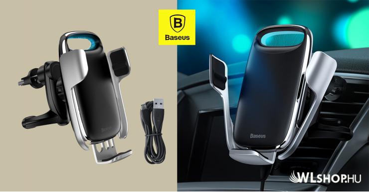 Baseus Milky Way automata telefontartó és töltő szellőzőre - Ezüst