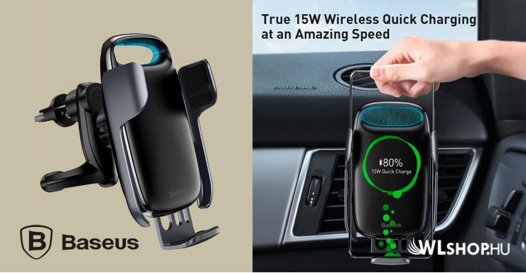 Baseus Milky Way automata telefontartó és töltő szellőzőre - Fekete