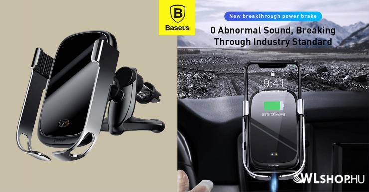 Baseus Rock-Solid automata telefon tartó és vezeték nélküli töltő - Ezüst/Fekete