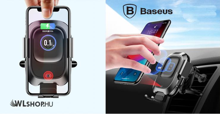 Baseus Smart autómata autós tartó és töltő 2in1 gyorstöltéssel szellőzőrácsra - Fekete