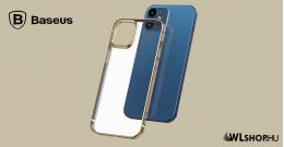 Baseus iPhone 12 Mini rugalmas gél tok, fényes fémes kerettel Shining - Arany