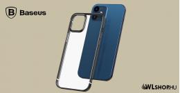Baseus iPhone 12 Mini rugalmas gél tok, fényes fémes kerettel Shining - Fekete