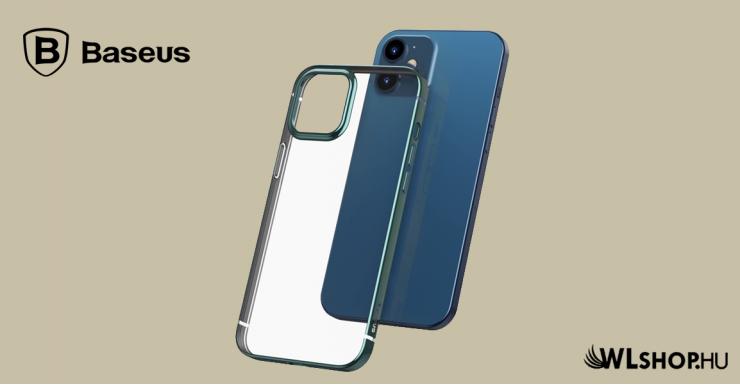 Baseus iPhone 12 Mini rugalmas gél tok, fényes fémes kerettel Shining - Zöld