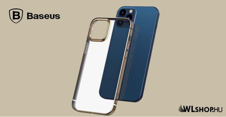 Baseus iPhone 12 Pro rugalmas gél tok, fényes fémes kerettel Shining - Arany