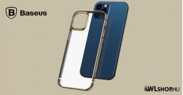 Baseus iPhone 12 rugalmas gél tok, fényes fémes kerettel Shining - Arany