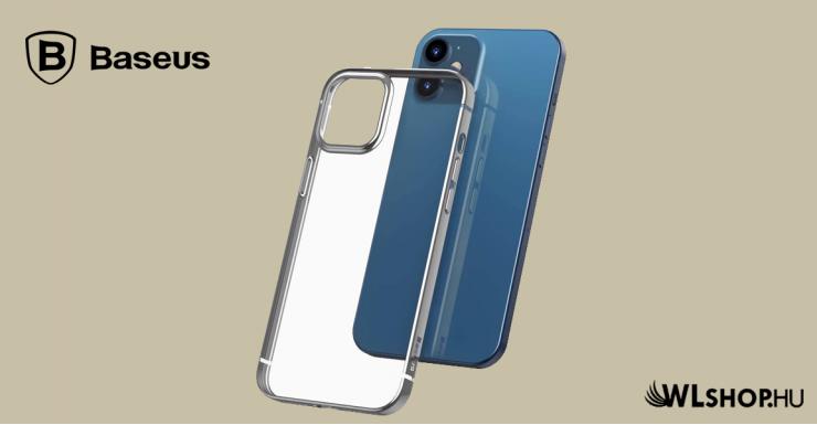 Baseus iPhone 12 rugalmas gél tok, fényes fémes kerettel Shining - Ezüst