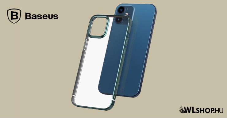 Baseus iPhone 12 rugalmas gél tok, fényes fémes kerettel Shining - Zöld