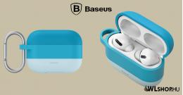 Baseus szilikon védőtok Apple AirPods Pro + horog - Kék