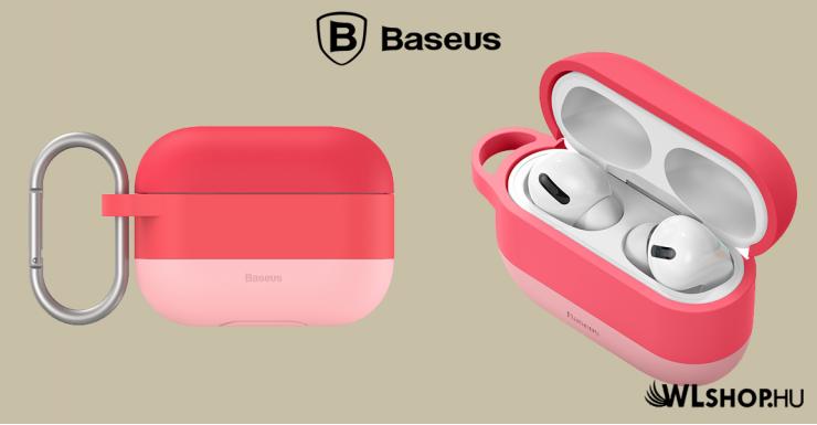 Baseus szilikon védőtok Apple AirPods Pro + horog - Rózsaszín