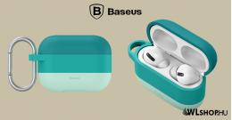 Baseus szilikon védőtok Apple AirPods Pro + horog - Zöld