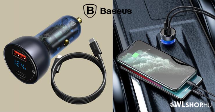 Baseus autós töltő USB/USB-C 65W 5A SCP QC 4.0 + PD 3.0 LCD kijelzővel Type-C kábellel- Szürke