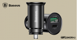 Baseus Circular Metal PPS gyors autóstöltő 30W (Support VOOC) - Fekete
