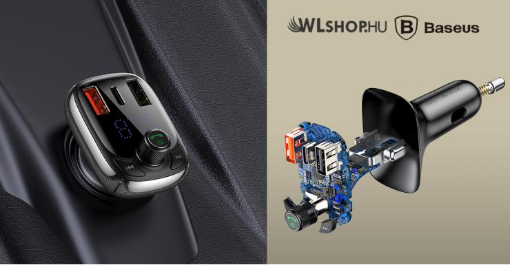 Baseus FM Transmitter, MP3 lejátszó, Bluetooth kihangosító és QC 4.0 töltő - fekete