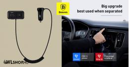 Baseus S-16 Bluetooth-FM Transmitter-MP3 lejátszó-2USB 3,1A autós töltő - Fekete