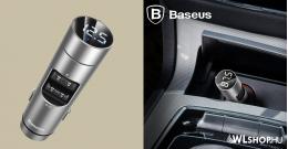 Baseus Energy Column 2USB autós töltő 3,1A + FM Transzmitter  - Ezüst