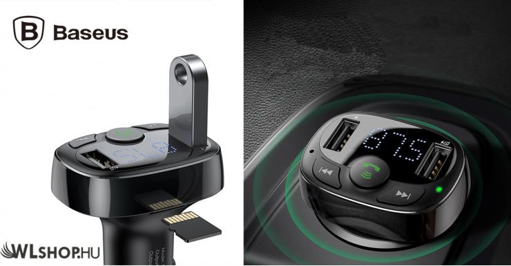 Baseus FM Transmitter, MP3 lejátszó és Bluetooth kihangosító autós töltővel - Fekete