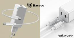 Baseus GaN2 hálózati gyorstöltő C + C 45W C-típusú 1m kábellel 60W (20V/3A) - Fehér